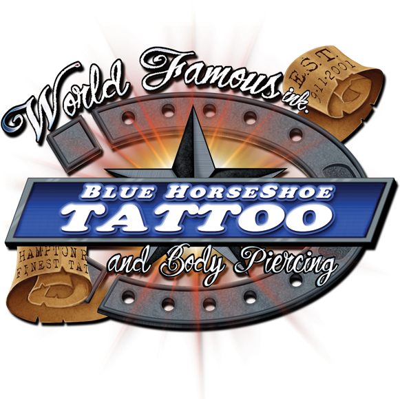 Blue horse shoe tattoo and piercing for Blue horseshoe tattoo
